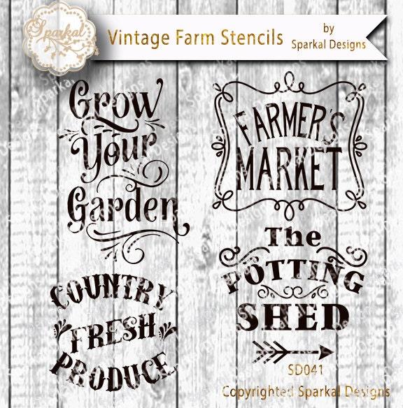 Farmers Market Sign Stencil Bundle Quotes Garden Digital