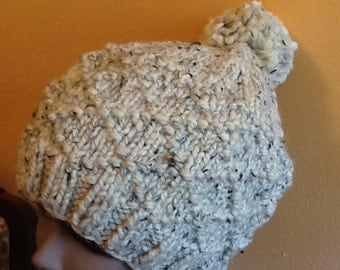 thick wool beanie with pom pom