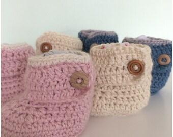 Crochet Baby Booties Alpaca & Silk, baby gift,Baby Shower, Crib Shoe,New Baby Gift Handmade,,Christening Gift - sizes 0-3 3-6 6-9mths.