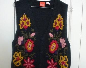 Flower knit vest
