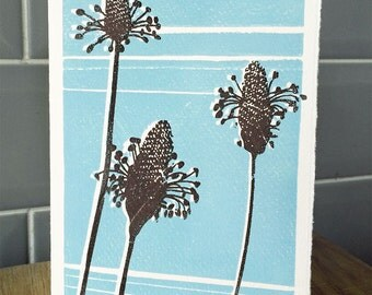 Hand printed lino card - Original print - Ribwort plant design. Thank You, Greeting & 'Just Because' cards