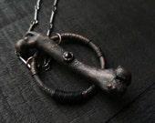 Sale / Electroformed Bone Jewelry / Electroformed / Bone Necklace / Onyx / Electroformed Necklace / Copper Jewelry / Gemstone Jewelry