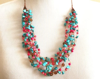 Turquoise and Pink Wire Crochet Necklace