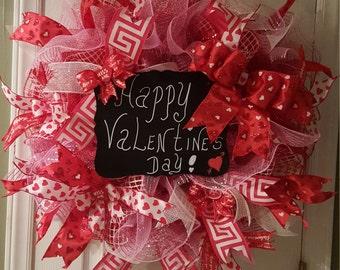 "24"" Deco Mesh Valentine Wreath"