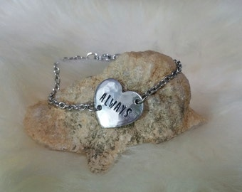 ALWAYS Bracelet Custom Hand Stamped HEART Aluminum with Stainless Steel Personalized