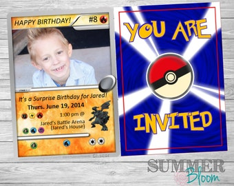 Pokemon Card Birthday Invitation with Picture
