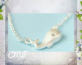 Whale Necklace 925 Sterling Silver Necklace Whale Pendant