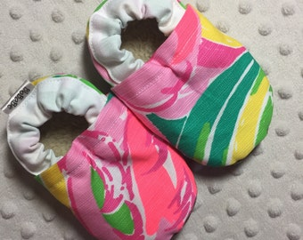 Soft Sole Baby Shoes Baby Girl Shoes Baby Booties Crib Shoes Lilly Pulitzer Multi All Nighter Cotton Fabric Faux Fur/Suede Handmade