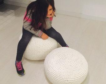 "Round - White crochet pouf - floor cushion - crochet cushion - floor puff modern pouf (16""x8"" - 40x20 cms.)"