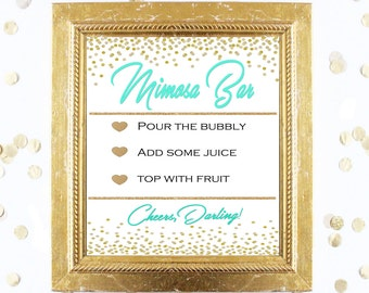 Bridal Shower Game Sign - Mimosa Bubbly Bar Sign - MINT and GOLD - Instant Printable Digital Download - Birthday Party Printable