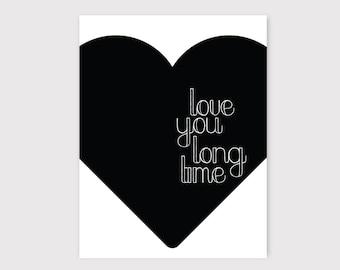 Black and White, Modern Nursery, Monochrome Nursery, Nursery Wall Art, Love Print, Baby Room, Monochrome Baby, Valentine's Day Print