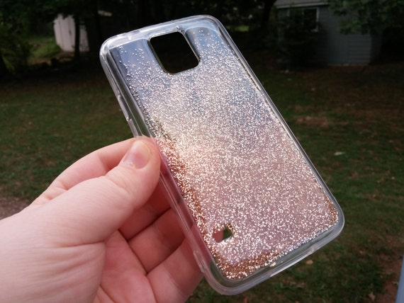 galaxy s6 clear ombre gradient rose gold glitter by paintmemad