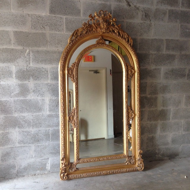 On The Floor French: French Floor Mirror Gold Antique Heavy Carved Excellent