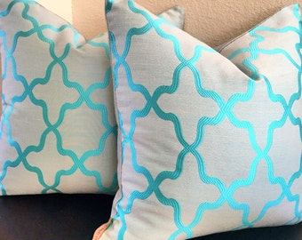 Gray & Turquoise Plush Pillow-Turquoise Gray Pillow-Aqua Designer Pillow-Teal Pillow Cover-Turquoise Accent Pillow-Spring Pillow Cover