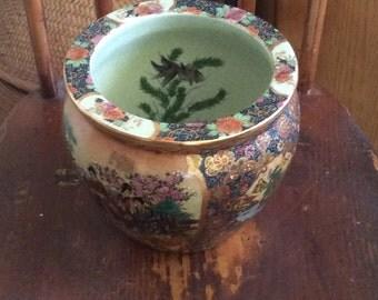 Chinese bowl, chinese vintage ceramic bowl, planter, decorated vase