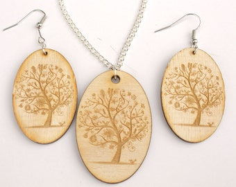 """Earrings and Necklace, Wooden Engraved """"Tree"""" Jewelry Set"""