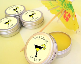 GIN & TONIC Lip Balm - Natural Lip Balm - Lipbalm - Gin and Tonic - Gift For Her - Hen Party - Cocktail Lip Balm - Gin Gift - Hen Do Gift