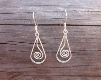 Sterling Silver Wire Spiral Earrings - #5