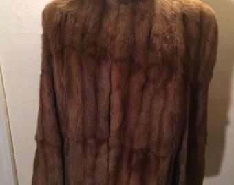 Vintage brown squirrel fur cape with pockets