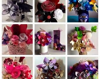 flower bouquet, paper bouquet, fabric bouquet, gift ideas,