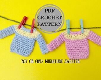 Boy or Girl ? PDF Crochet Pattern. Miniature Sweater. Miniature Jumper. Amigurumi Crochet. Gift for crocheters. Instant download pattern.