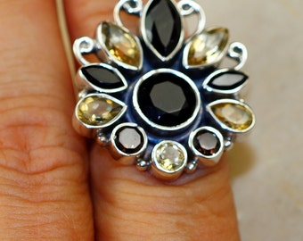 Citrine and Onyx & 925 Sterling Silver Ring size 7.5 by Silver Trend