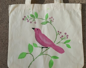Maroon Bird  on a Branch Shopping Tote