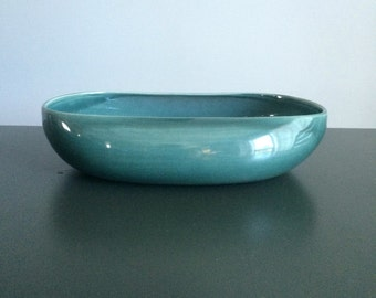 Russel Wright American Modern Oval Vegetable Serving Bowl in Seafoam Blue / Steubenville Pottery Company