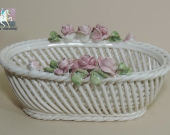 Italian Porcelain Basket Vintage Open Rope Weave Ceramic with Pink Roses in the style of Capodimonte almost 8""