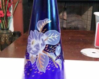 Vintage Blue Hand-Painted Vase