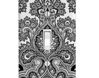 Home Decor Light Switch Cover-Floral Damask Black and White-Housewarming-Lighting-Wall Decor-Kitchen Decor-Bathroom Decor