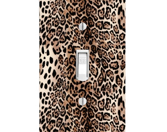 Home Decor Light Switch Cover-Cheetah Animal Print-Housewarming-Lighting-Wall Decor-Kitchen Decor-Bathroom Decor-Double Light Switch-Triple