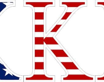 Kappa Kappa Gamma American Flag Greek Letter Sticker - 2.5