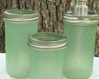 3-Piece Mason Jar Bath Set Green Sea Glass
