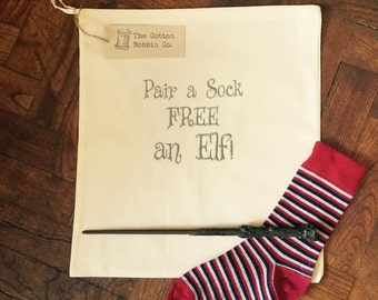 Harry Potter Style Dobby Inspired Odd Sock Laundry Bag Embroidered Pair a Sock FREE an Elf 100% Cotton Odd Sock Drawstring Bag Laundry Bag
