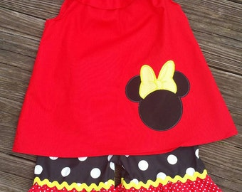 Minnie mouse short set / Disney short set / Disney outfit / minnie outfit / minnie mouse outfit / minnie shorts outfit