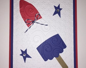 Handmade 4th of July Card, Independents day, Red, White & Blue, Patriotic, July 4th