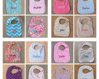 6 Personalized Baby Bibs- Choose fabric!
