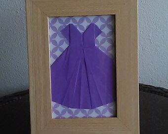 Purple Paper Dress in 4x6 wood picture frame