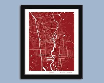 Napa map, Napa Valley art map, Napa wall art poster, Napa decorative map