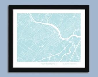 New Brunswick map, New Brunswick city map art, New Brunswick wall art poster, New Brunswick decorative map