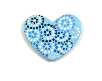 Shades of Blue Polka Dot Heart Ceramic Ornament Ready to be Personalized