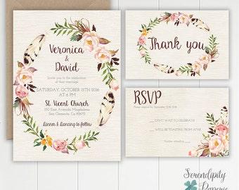 Rustic Floral Boho Wedding Invitation Set Printable