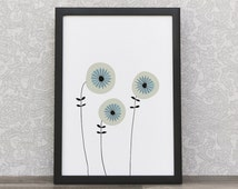 Retro Flowers Print | Home Wall Art | Flowers Art | 50s Style | Retro Poster | Scandinavian 50s | Art Print | 1950s Design