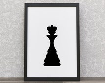 Chess Queen | Chess Piece Prints | Minimalist Print | Black Chess Queen | Black And White | Modern Style Wall Art | Classic Motive | Queen