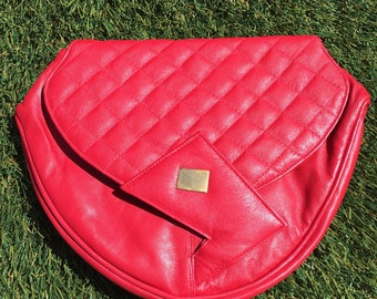 80s New Wave Red Purse, vintage red leather clutch, vintage red leather purse