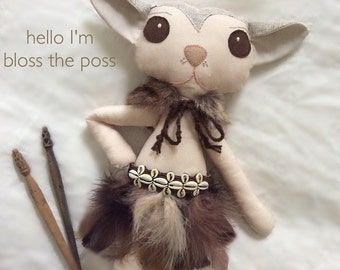 fabric soft toy//possum//plushie//handcrafted 40cm tall