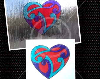 Heart handpainted window cling for glass & mirror surfaces, reusable decal, faux stained glass effect suncatcher, decals, static cling