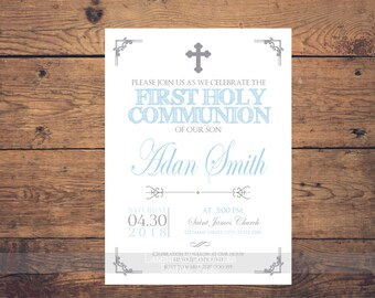 Silver and blue first communion invitation boy, first communion boy, first communion invitation printable, 1st communion, communion party