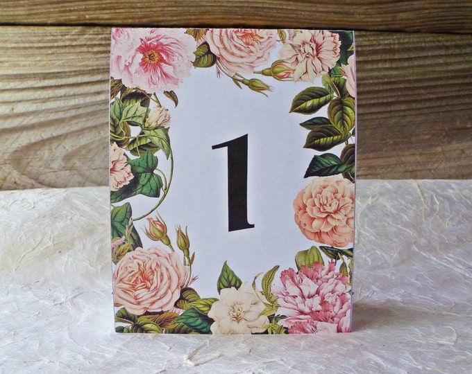 Featured listing image: Table Numbers White Pink Cream Floral Flower Border for Weddings or Parties Download and Print for Wedding Tables or Dinner Parties Events